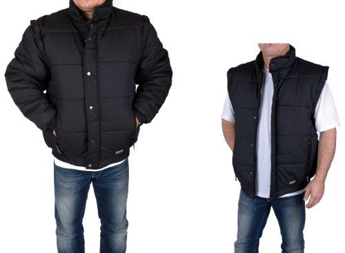 Herren Outdoor Jacke und Weste 2 in 1 mit abnehmbaren Ärmeln Schwarz, M