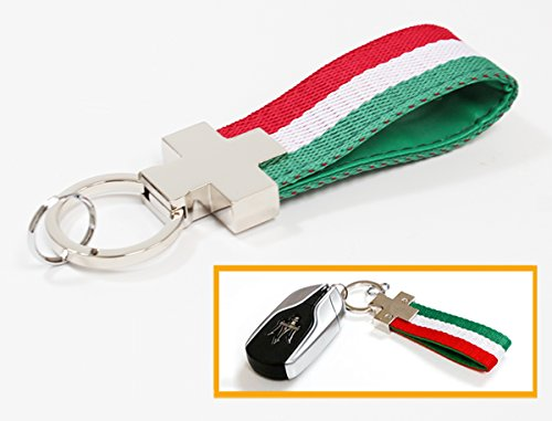 (Cuztom Tuning GREEN WHITE RED STRIPE ITALY FLAG NYLON LEATHER BAND KEY FOB CHAIN RING STRAP)
