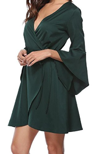 Coolred Sexy Sleeve Flare Women Evening Neck V Green Straps Cross Dress Party wq0wrE5