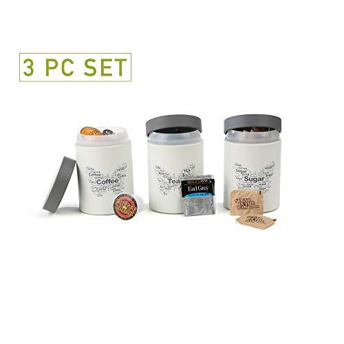 Mind Reader SILICAN3-WHT Sugar Tea Coffee Metal Canister Set, White Round ()