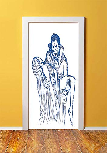 Vampire 3D Door Sticker Wall Decals Mural Wallpaper,Count Dracula in Cape Carrying His Prey Victim Woman Sketchy Halloween Artwork,DIY Art Home Decor Poster Decoration 30.3x78.3033,Blue and White