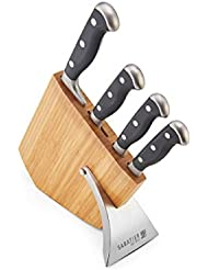 Sabatier 5218800 Slim-Style Forged Japanese Stainless Steel Triple Rivet Small Prep Knife Set with Bamboo Storage Block, 5-Piece, Black
