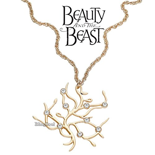 Disney Jewelry For Adults (BlingSoul Disney Princess Belle Necklace Jewelry Merchandise - Beauty and The Beast Necklace Tree Of Life Gold Pendant)