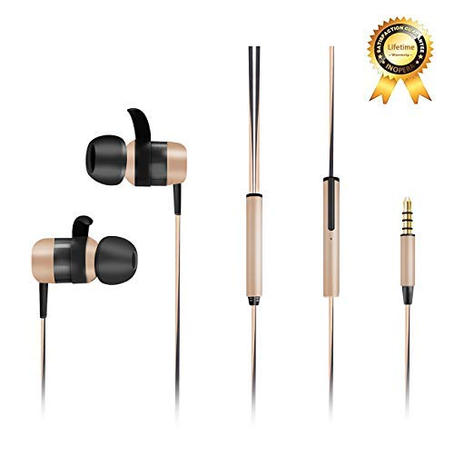 inOpera Audio Wired Sport Earbuds in-Ear Headphones Line-in Microphone Dynamic Crystal Clear Sound Earphones Noise Isolating Headset with 3.5 mm Jack Durable Cable for Cell Phones (Gold/Black)