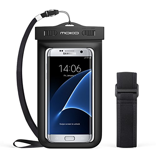 Universal Waterproof Case, MoKo Cellphone Dry Bag with Armband Neck Strap for iPhone 7, 7 Plus, 6s, 6, 6s Plus, SE, 5s, Note5, S7 Edge, Pixel, Pixel XL, LG BLU Huawei & Other Devices up to 6