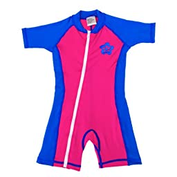 infant size M sun UV Protection One-Piece Pink/Blue Swimsuit SPF+50 Age 12-24 Month