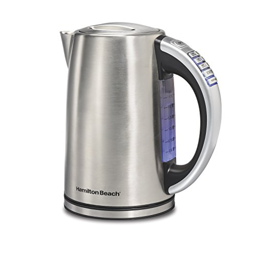 Hamilton Beach Variable Temperature Kettle 1 Touch Settings 1.7 Liter Capacity - Silver