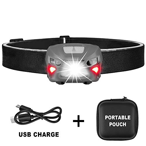 350 Lumens Ultra Bright Portable Sensor Improved CREE LED Headlamp - 8 Lighting Modes White & Red LED, 2.2 oz Lightweight, Rechargeable 48hours Use, Headlamp for Camping Any Lighting use (Gray)