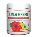 Organic AMLA GREEN Tea Powder – Great Tasting, 20x Concentrated Amla + Oolong Tea Antioxidant Blend – Raw, Vegan, Organic, Non-GMO, Amla Powder (90 Servings, Hibiscus)