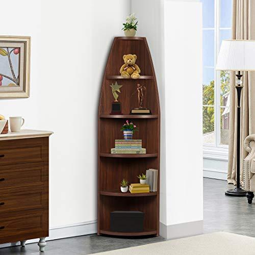 Trevi Hilton Corner Engineered Wood Open Book Shelf   Walnut Finish