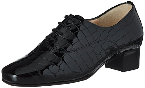 para Evelyn Schwarz de Hassia Zapatos Weite 0100 J Negro Derby Mujer Cordones 0xdqAawg