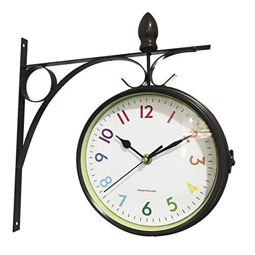 MUZIDP Double-Sided Wall Clock,Creative Wrought Iron Mute Quartz Movement Quartz Clock,Living Room Bedroom Antique Wall Clock-E 16inch ()