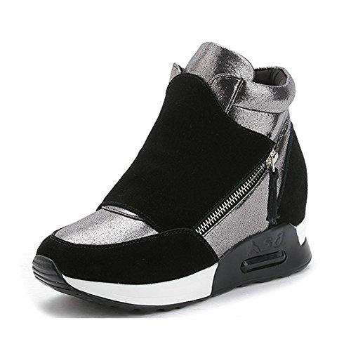 Giy Femmes Mode Haute Top Sneaker Plate-forme Augmenté Hauteur Wedge Casual  Sport Chaussures Noir 3cec37bdba94