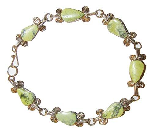 (Peru Treasure 7-Stone Natural Stone Alpaca Silver Bracelet (Serpentine))