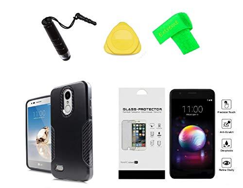 LG Rebel 4 LML212VL / LML211BL Slim Carbon Metallic Hybrid Cover Phone Case + Tempered Glass + Extreme Band + Stylus Pen + Pry Tool (Black)
