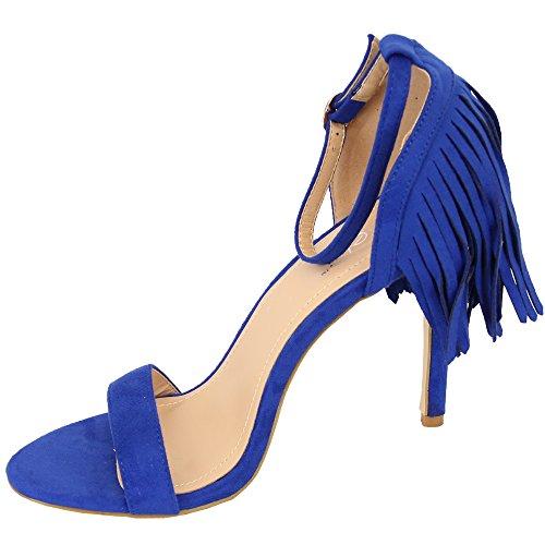 Damen blau Quasten Absatz Schuhe hoher KL02 Veloursleder Sandalen Open Damen Kelsi NEU Toe Party Look RqEgOFx