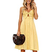 Kafadala Women's Casual Summer Dresses V Neck Button Down Spaghetti Strap Tie Front A-Line Backless Midi Dress