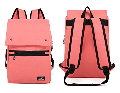 UPSUN(WenJie) Vintage Unisex Canvas Laptop School Work Travel Backpack Rucksack - Pink