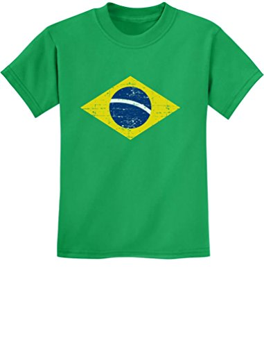 TeeStars - Vintage Brazil Flag Retro Style Brazilian Youth Kids T-Shirt X-Large Green