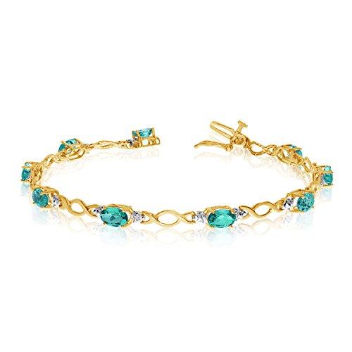 "3.10 Carat (ctw) 14k Yellow Gold Oval Green Emerald and Diamond Infinity Tennis Bracelet - 7"" Length"