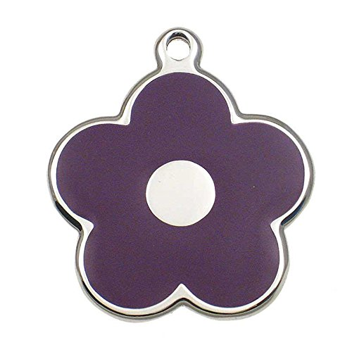 LuckyPet Pet ID Tag - Stainless Steel Flower Jewelry Tag - Dog & Cat Tags - Custom Engraved on Back - Size: Large, Color: Purple