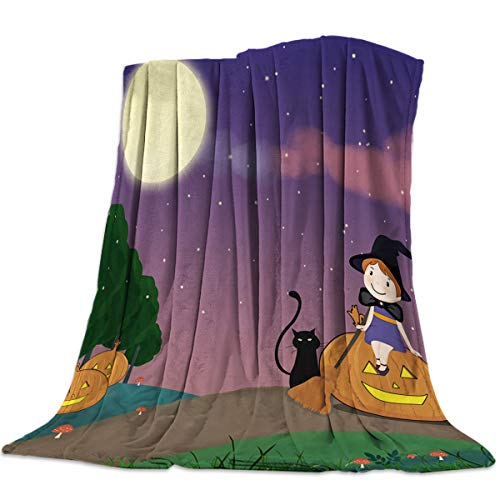 Decorative Throw Blanket for Living Roome/Office/Bedroom Luxury Warm Soft Cozy Flannel Microfiber Lightweight Blanket for All Season Halloween Cartoon Witch Girl Sit on Pumpkin and Black Cat 39