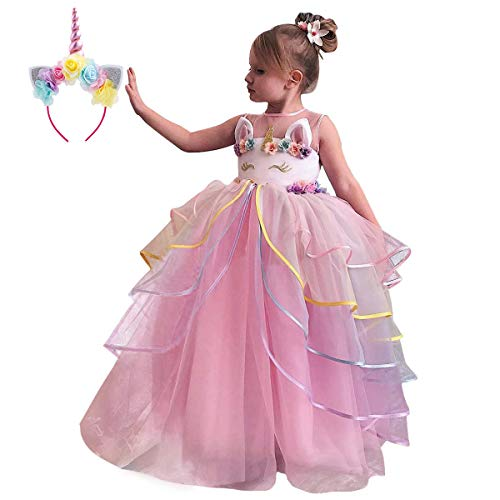 Girls Long Unicorn Dress up Costume Floor Length Puffy Tulle Skirt + Headband Birthday Outfit Princess Pageant Wedding Party Maxi Dresses Halloween Dance Gown for Kids Photo Shoot Cosplay Pink 7-8Y]()