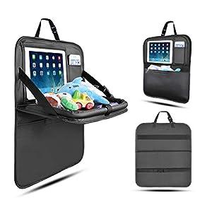 Organisateur de Voiture Kick Mats, Siege de Voiture Protection Siège Voiture avec Boîte de Mouchoir iPad Tablet Holder pour Enfants-1Pack (Noir-Petit) 2