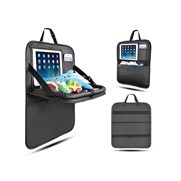 Organisateur de Voiture Kick Mats, Siege de Voiture Protection Siège Voiture avec Boîte de Mouchoir iPad Tablet Holder pour Enfants-1Pack (Noir-Petit) 1