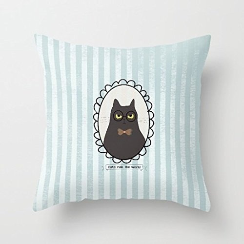 Decorative Pillow Case Cats Rule on White Cushion Cover 18