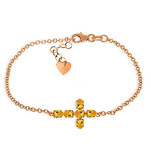 ALARRI 1.7 Carat 14K Solid Rose Gold Cross Bracelet Natural Citrine Size 7.5 Inch Length by ALARRI