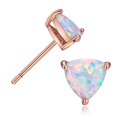 Trillion White Earrings - GEMSME 18K Rose Gold Plated Opal Stud Earrings For Women With Many Shape Option (Trillion Shape)