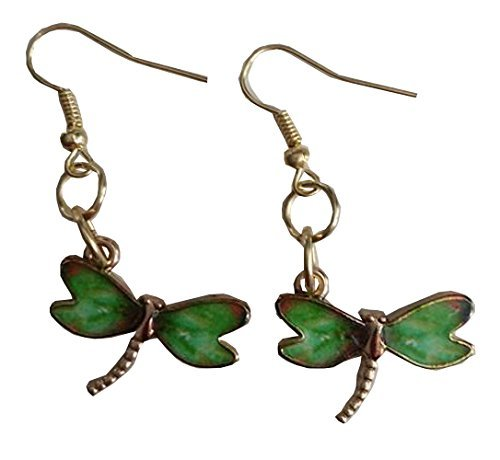 Green Dragonfly Dangle Earrings (Homemade Country Costumes)