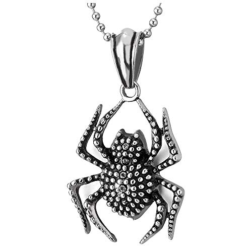 COOLSTEELANDBEYOND Men Women Steel Vintage Dotted Spider Pendant Necklace with Cubic Zirconia, 23.6 inches Ball Chain ()