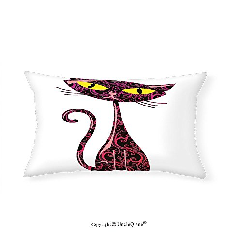 VROSELV Custom pillowcasesAnimal Animal Pet Cute Cartoon like Cat Sitting and Looking with Its Big Eyes for Bedroom Living Room Dorm Pink Black and Yellow(20''x30'') by VROSELV