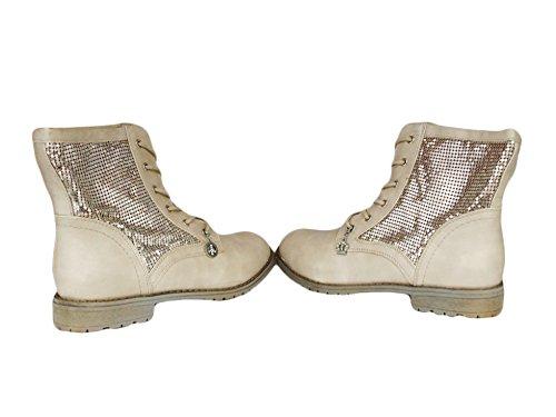 La Loria Damen Schnürboots, Schnürer Boots Stiefeletten mit Strass Elfenbein