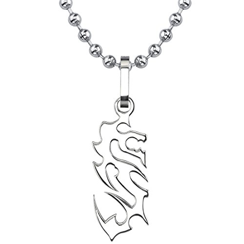 Oriental Charm: Designer Inspired Titanium Brushed Finish Dragon Pendant on a Stainless Steel Ball - Pendant Oriental Dragon