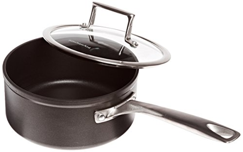 KitchenAid KCH230PLKM Professional Hard Anodized Nonstick 3.0-Quart Saucepan with Lid Cookware - Black