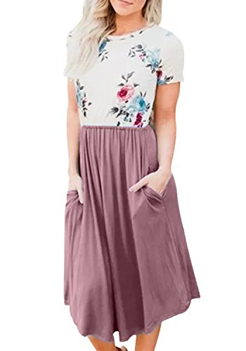 Sleeve Short Womens Dress (LAINAB Womens Casual Short Sleeve Floral Loose Beach Dress with Pockets Purple M)