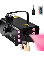 Halloween Fog Machine, 500W Smoke Machine with 6 RGB LED Controllable Lights, 12 Colors&Strobe Effect for Wedding Parties Stage, 2000CFM Fog with 1 Wired Receiver & 2 Wireless Remote Controls