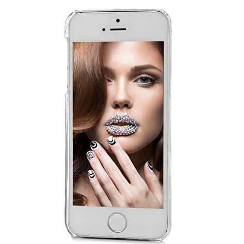 Mavis's Diary Coque iPhone 5/iPhone 5S/iPhone SE PC Rigide Bling Strass Papillon Dessin Housse de Protection Étui Téléphone Portable Phone Case Cover+Chiffon