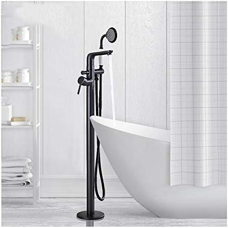 自立式浴槽の蛇口真鍮ダブルハンドルバスシャワーミキサー床置きタップ付きハンドヘルドシャワー,Orb