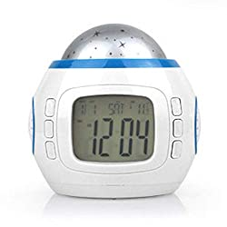 BBZXLL Large Screen Starry Sky Projection Alarm Clock, LED Backlit Music Calendar Electronic Alarm Clock Colorful Conversion Decompression Students