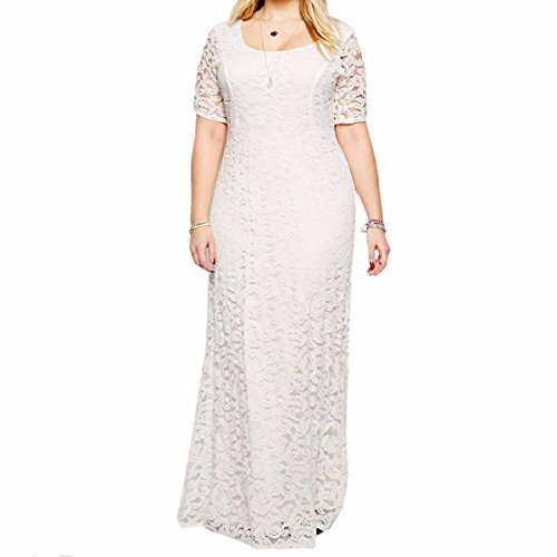 Samtree Womens Full Lace Plus Size Bridesmaid Wedding Cocktail Party Maxi Dress (UK 28 Fit US 24 Plus,White)