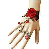 QTMY Black Lace Adjustable Red Rose Finger Ring Bracelet Jewelry Set Gift for Women Girl