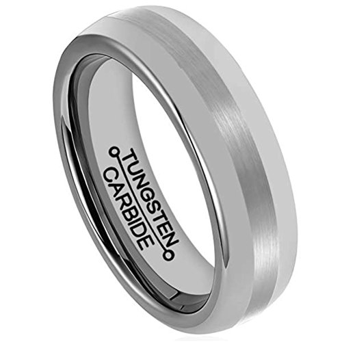 Mens 6mm Tungsten Carbide Ring Silver Center Matte Finish Wedding Engagement Band Polished Edges Comfort Fit ()
