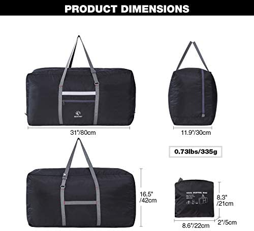 REDCAMP 100L Foldable Extra Large Duffle Bag 31 Inch, Lightweight Travel Duffel Bag with Adjustable Strap for Men Women, Black/Dark Blue/Red