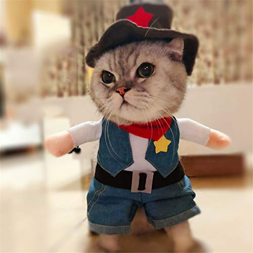 Delifur Cowboy Pet Costume with Hat Dog Costume Funny Pet Clothing Special Events Costume for Dog & Cat -