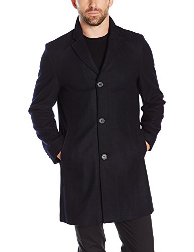 Tommy Hilfiger Men's Wool Melton Unfilled Top Coat, Navy, XXL