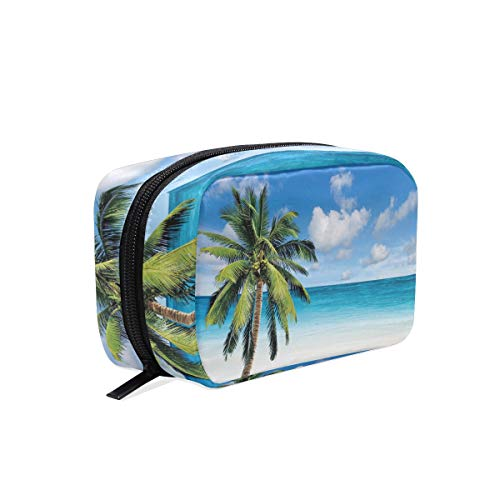 DERLONKAJE Makeup Bag Portable Travel Cosmetic Palm Tree On Beach Toiletry Bag Organizer Accessories Case Tools Case for Beauty Women